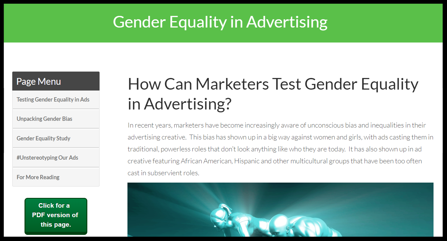 Graphic of a male and female racing, looking at gender equality in advertising.
